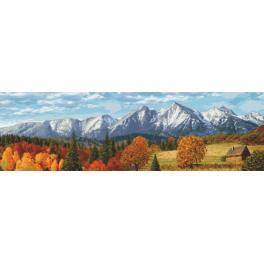 Vyšívací sada s mulinkou a podiskem - Podzimní hory