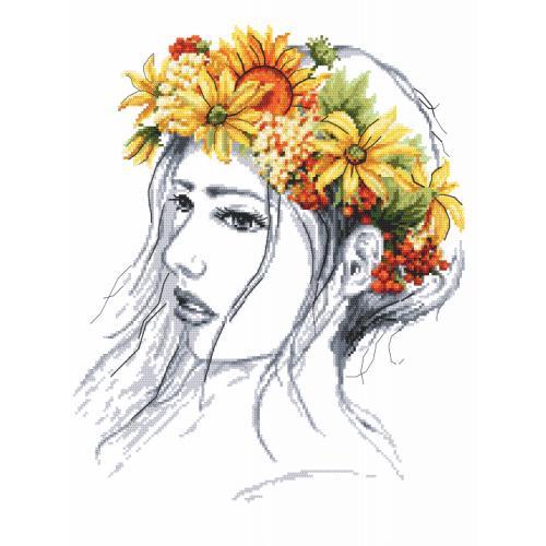 Vyšívací sada s mulinky a korálky - Podzimní dáma