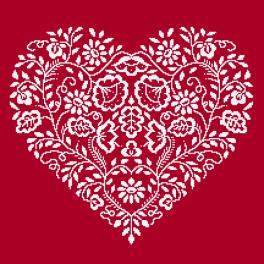 Předloha - Srdce - Bílá výšivka