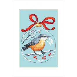 Vyšívací sada s mulinkou a přáníčkem - Přání - Koule s ptáčkem