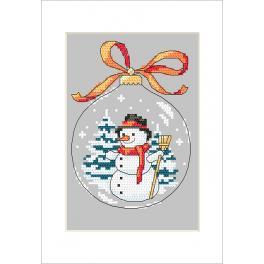 Vyšívací sada s mulinkou a přáníčkem - Přání - Koule se sněhulákem