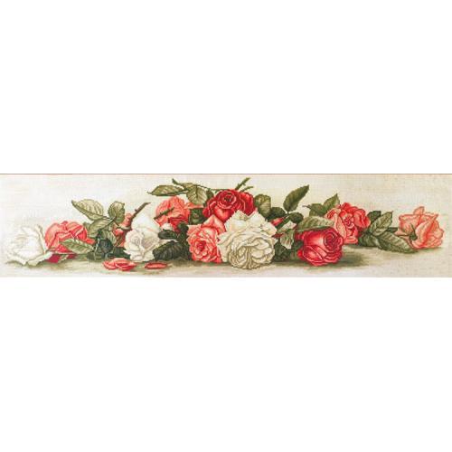 Vyšívací sada s mulinkou a pozadím - Krásné retro růže