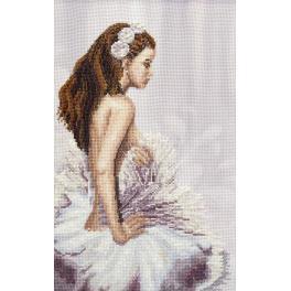 Vyšívací sada s korálky - Baletka v bílém