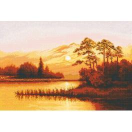 Vyšívací sada - Západ slunce nad jezerem