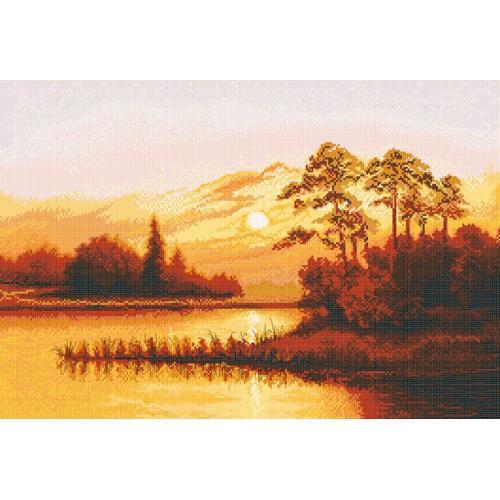 NPE 3248 Vyšívací sada - Západ slunce nad jezerem