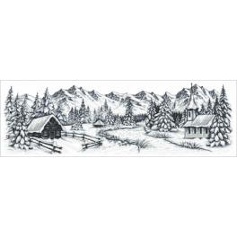 AN 8990 Předtištěná aida - Zimní hory