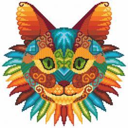 Vyšívací sada s mulinkou a potiskem - Kočičí kaleidoskop