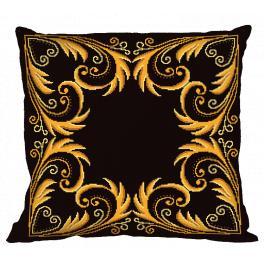 Vyšívací sada s povlakem na polštář - Polštář - Zlatá arabeska