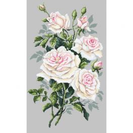 Vyšívací sada s mulinkou a potiskem - Bílé růže