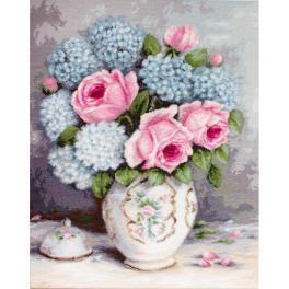 Vyšívací sada - Růže a hortenzie