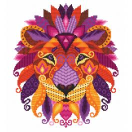 K 10604 Předtištěná kanava - Barevný lev