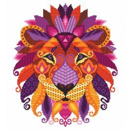 Vyšívací sada s mulinkou a potiskem - Barevný lev