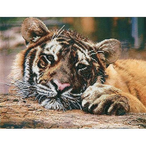 Vyšívací sada s korálký - Tygr