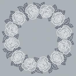W 10611 Předloha ONLINE - Ubrousek s bílými růžemi