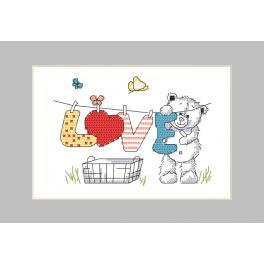Vyšívací sada s mulinkou a přáníčkem - Medvědí praní