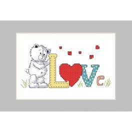 Vyšívací sada s mulinkou a přáníčkem - Medvědí láska