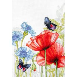 Vyšívací sada - Máky a motýli