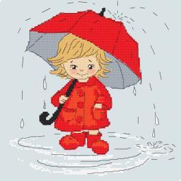 Vyšívací sada - Holčička s deštníkem