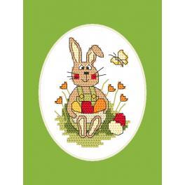 Vyšívací sada s mulinkou a přáníčkem - Velikonoční přání - Zajíček