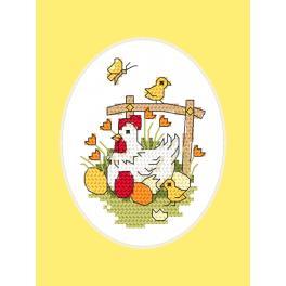 Vyšívací sada s mulinkou a přáníčkem - Velikonoční přání - Slepička a písklata