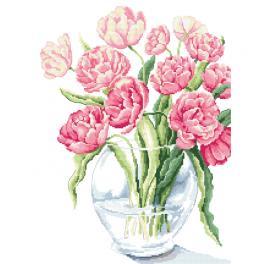 Vyšívací sada s mulinkou a potiskem - Nádherné tulipány