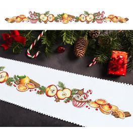Vyšívací sada s mulinkou a běhounem - Dlouhý vánoční běhoun
