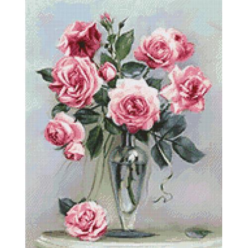 WD2454 Diamond painting sada - Růže na mramorovém stolečku