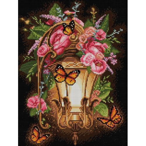 M AZ-1723 Diamond painting sada - Lucerna s divokými růžemi