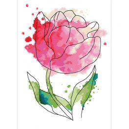Vyšívací sada s mulinkou a podiskem - Akvarel tulipán