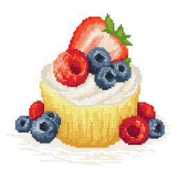 Vyšívací sada - Dortík s ovocem