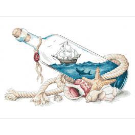 Vyšívací sada - Moře v láhvi