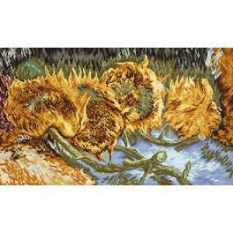 Vyšívací sada s mulinkou a potiskem - Čtyři utržené slunečnice - V. Van Gogh