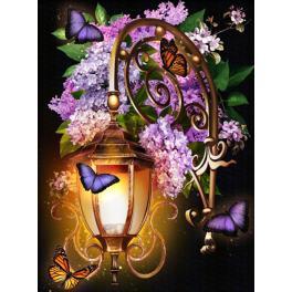 M AZ-1722 Diamond painting sada - Lucerna s liliemi