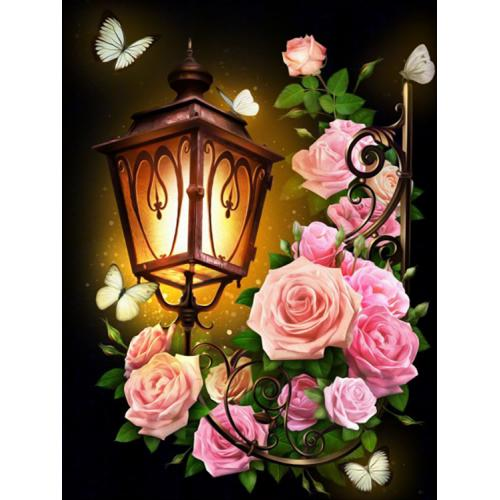 M AZ-1721 Diamond painting sada - Lucerna s růžemi