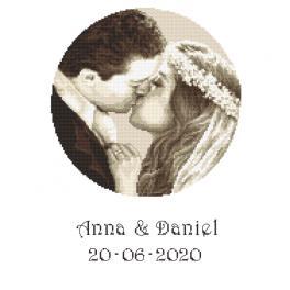 Vyšívací sada s mulinkou a potiskem - Vzpomínka na svatbu - Novomanželé