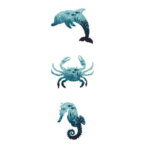 AN 10276 Předtištěná aida - Mořská zvířata