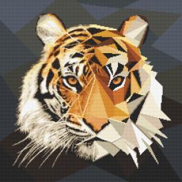 Vyšívací sada s mulinkou a potiskem - Tygr z mozaiky