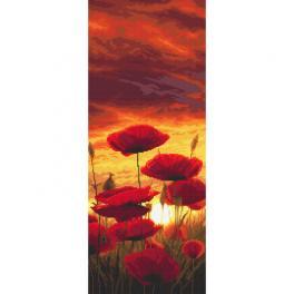 Předtištěná kanava - Západ slunce malovaný máky