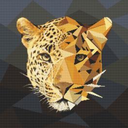 Vyšívací sada s mulinkou a potiskem - Jaguár z mozaiky