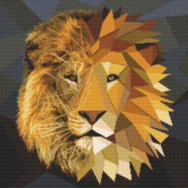 Vyšívací sada s mulinkou a potiskem - Lev z mozaiky