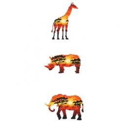 Vyšívací sada s mulinkou a potiskem - Africká zvířata