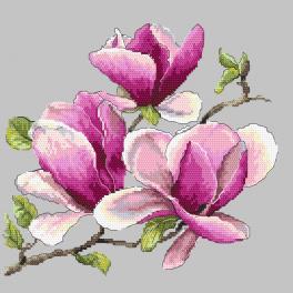 Vyšívací sada s mulinkou a potiskem - Vonící magnolie