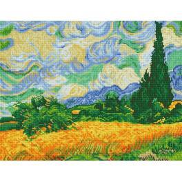 Diamond painting sada - Obilné pole s cypřiši – V. van Gogh