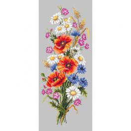 Vyšívací sada s mulinkou a podiskem - Polní květy