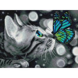 Diamond painting sada - Bengálská kočka a motýlek