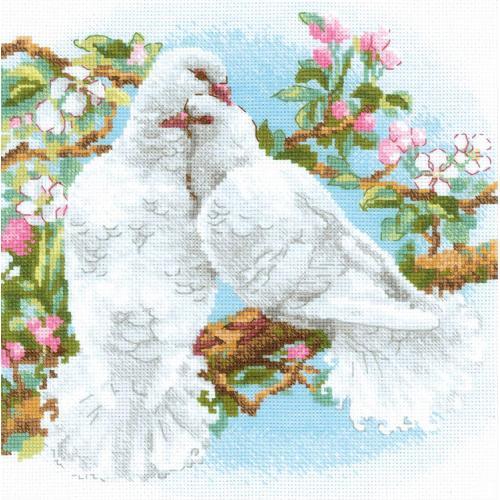 RIO 1856 Sada s akrylovou příze - Bílé holuby