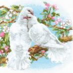 Sada s akrylovou příze - Bílé holuby