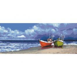 Vyšívací sada s mulinkou a potiskem - Rybářské loďky