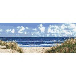 Vyšívací sada s mulinkou a potiskem - Mořská pláž