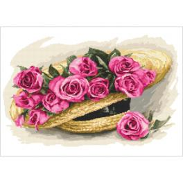 K 10435 Předtištěná kanava - Kytice růží v klobouku